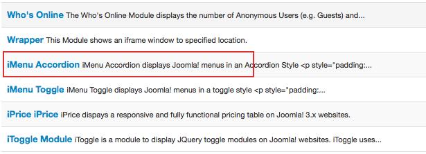 Arashtad Accordion Menu; Responsive Pricing Table for Joomla! 3