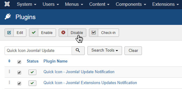 How to Turn Off Update Notification Icons in Joomla!?